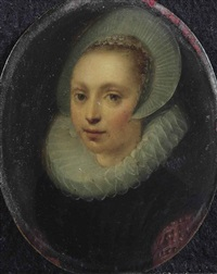 portrait of a lady, bust-length, in a black and red dress with a white ruff and a lace cap by gortzius geldorp