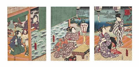 Genji Monogatari Series Depicting Prince Watching Two Ladies Who Are About To Play A Game