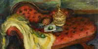still life with sofa, bird cage and pineapple by walter stuempfig