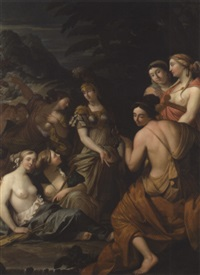 minerva and the muses on mount helicon by theodorus cornelisz van der schuer