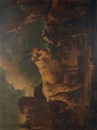 bouc, mouton et boeuf dans un paysage by philipp peter roos