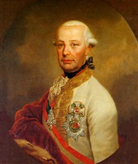 kaiser leopold ii. porträt in feldmarschallsuniform dekoriert mit dem orden vom goldenen vlies by josef kreutzinger