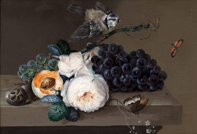 Obststillleben mit Rose und Vogel by Johann Baptist Drechsler on artnet