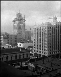 marine building under construction (from building vancouver series) by karl huber