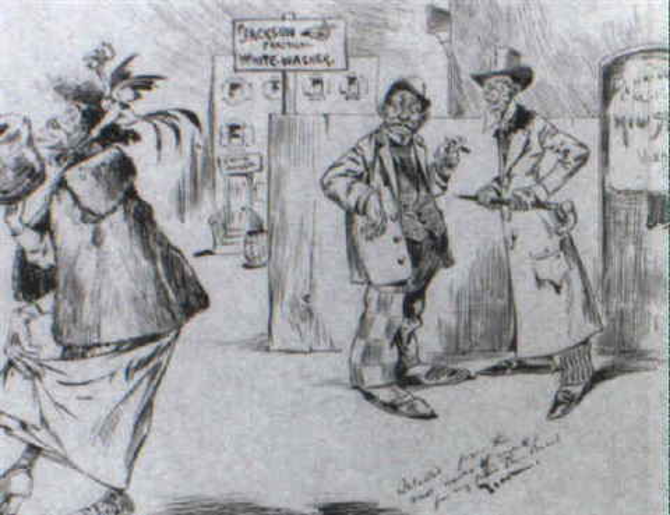 black men watching black woman on the street by eugene zimmermann