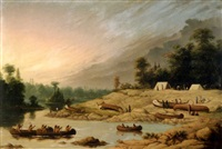 encampment, winnipeg river by paul kane