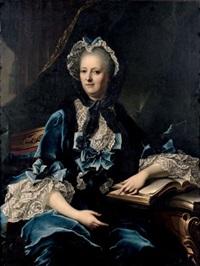 portait de femme à la robe et au bonnet de velours bleu by nattier