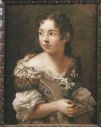 portrait de jeune femme tenant des fleurs by sebastiano ceccarini