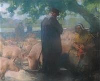 bretagne, le marché aux bestiaux by louis fortuney