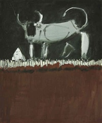 mucca su fondo nero by cesare mocchiutti