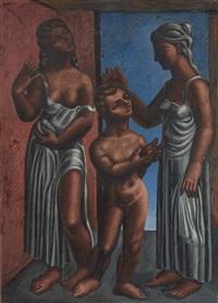 deux femmes drapées entourant un enfant by jaime antonio colson