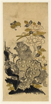 a shishi by a peony trying to catch a butterfly (hosoban) by japanese school (18)