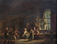 un violoniste dans un intérieur paysan by jacques-albert senave
