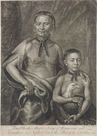 tomo chachi mico, or king of yamacran, and tooanahowi, his nephew, son to the mico of the etchitas, by john faber by willem verelst