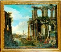 ruines antiques animées de nombreux personnages près du rivage by alessandro salucci