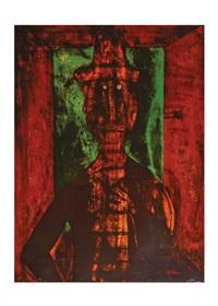 hombre en fondo verde by rufino tamayo