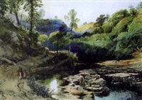 woman and child walking by a river (dovedale?) by william collingwood smith