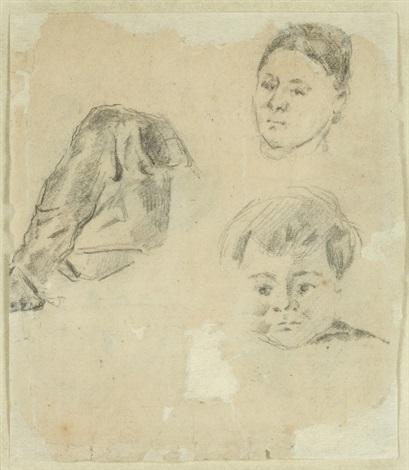 etudes daprès madame cézanne et le petit paul by paul cézanne