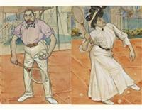 caricatures de vieux bourgeois jouant au tennis (pair) by l. fuchs