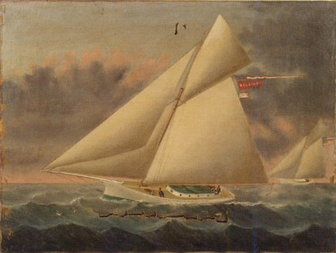portrait of the cutter melvina in a yacht race by william gay yorke