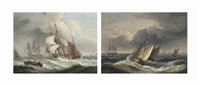 merchantmen in a stiff breeze off a headland; and windschips in a freshening breeze on the scheldt (a pair) by thomas luny