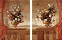 still life of lilies, roses, irises, morning glory and carnations, arranged in gilt vases, upon a stone balustrade draped with a red curtain, surrounded by butterflies by pedro de camprobin