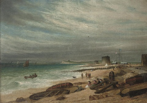 figures in an onshore breeze on the beach at walmer salvaging the wreck pair by s s david
