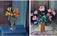 vazoda sarı çiçekler; vazoda güller (2 works) by elif naci