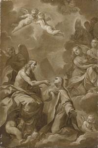 cristo dà la comunione ad una santa by giovan gioseffo dal sole