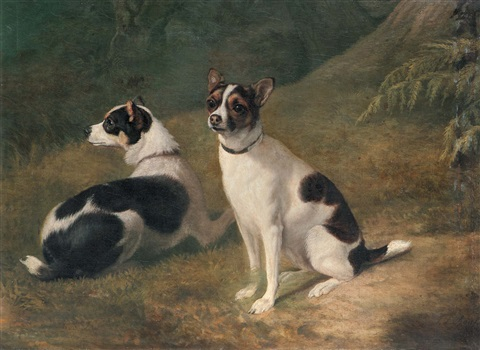 deux chiens zwei jack russel terriers by jacques laurent agasse