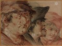 portrait de trois hommes by jan anton garemyn