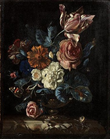 roses a tulip a carnation and other flowers in a gilt bronze mounted bowl on a marble ledge with a snail a red admiral butterfly and other insects by nicolaes lachtropius