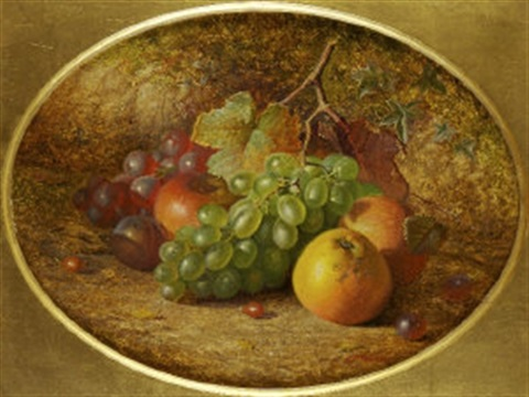 still life with fruit on a mossy bank by charles archer