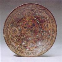 a rare circular lacquer tray by mexican school (17)