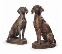 hunting dogs (pair) by alfred jacquemart