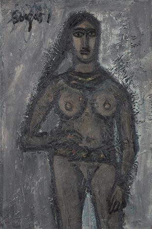 nude with beads and belt by francis newton souza