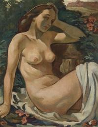 sitzender weiblicher akt mit weißem tuch by felix albrecht harta