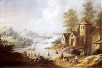 paysage fluvial animé de villageois by mathys balen