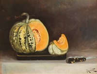still life with knife and pumpkin by constantin jiquidi