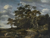 paysage boisé avec un cavalier et un fauconnier by jan van kessel