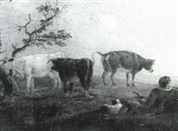 a herdsman with cattle by charles towne the younger