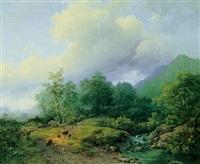 bjerglandskab med hyrder og dyr ved en flod by marianus adrianus koekkoek