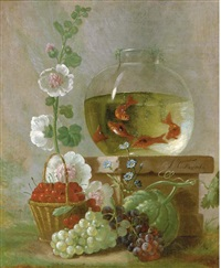 goldfish in a bowl on a ledge beside cherries and other fruit and flowers by johannes hendrik fredriks
