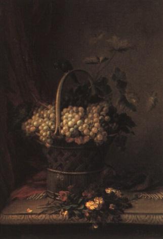 nature morte au panier de raisins et au jeté de girofles by jean baptiste joannes cornillon