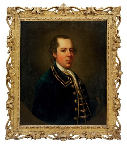 portrait of samuel cook in a blue coat, a tricorn hat under his left arm by francis lindo