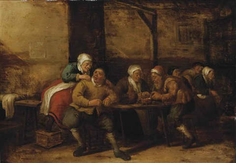 a barn interior with figures packing their pipes and sitting around tables by joost cornelisz droochsloot