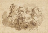 nine studies of heads by mauro gandolfi