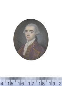 a gentleman, wearing violet coat edged with gold, matching waistcoat, white chemise, stock and frilled cravat, his powdered wig worn en queue and tied with a black ribbon bow by nathaniel hone the elder