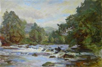 a sunlit highland river (+ another; 2 works) by robert payton reid