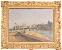 parisian scene with barges by jean adler